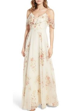 8150139bf3102 Free shipping and returns on Jenny Yoo Cassie Flutter Sleeve Surplice Gown  at Nordstrom.com