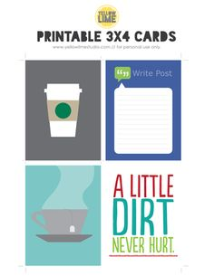 Free 3x4 Printable Journal Cards from Yellow Lime Studio #projectlife