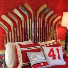 Hockey Stick Headboard : )
