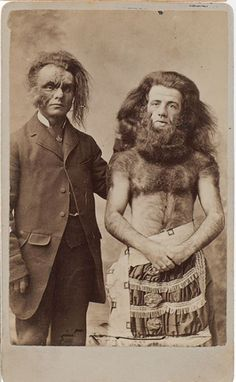 ca. 1860s, [two men, possibly performers, with face and body hair], D.J. Wilkes of Baltimore. via Cowan's Auctions