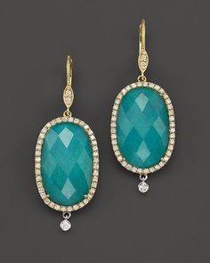 Meira T 14K Yellow Gold Turquoise and White Topaz Doublet Earrings with Diamonds | Bloomingdale's