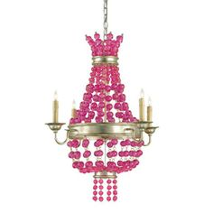 Draped lengths of raspberry pink crystal orbs make the Currey and Company Maharani Small Chandelier formal and fashion-forward at the same time. Following the Currey and Company tradition for distinctive home decor, a sizable wood and wrought iron frame finished in contemporary silver Granello forms its classic silhouette holding 4 candelabra lights. The hand finishing process used on this chandelier lends ...