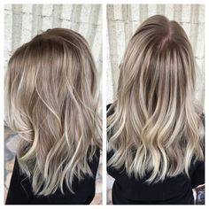 """""""This client came in with all over platinum blonde hair! We have her an easier maintenance look by keeping her pearly natural root color, and smudging it…"""""""