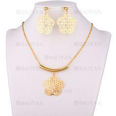 juego collar y aretes de flor moda en acero dorado inoxidable para mujer -SSNEG183566