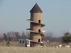 Goat Tower, Shelby County IL by dalejtravis: The tower is made up of 5000 handmade bricks and there are 276 concrete steps that spiral around the outside of the tower. The tower has six levels of living quarters for the 11 Saanen goats that make the tower their home. Here are others http://armchairtravelogue.blogspot.com/2009/11/goat-towers-around-world.html #Goat_Tower
