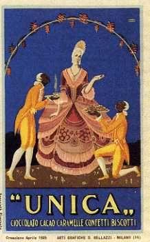 Cartolina pubblicitaria degli anni venti della fabbrica di cioccolato Unica