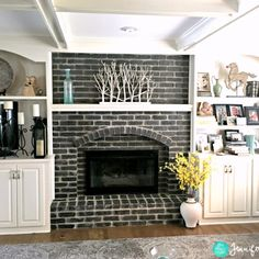 Black Brick Fireplace White Wash Fireplace, White Wash Brick Fireplace, Paint Fireplace, Brick Fireplace Makeover, Fireplace Design, Fireplace Ideas, Paint Brick, Fireplace Whitewash, Fireplace Pictures