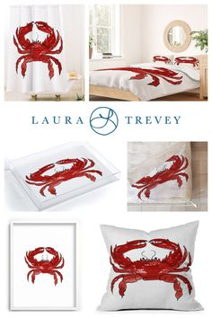 From shower curtains and duvet covers to throw pillows and cozy throws, add a pop of coastal flair to your beach themed space with the Red Crab collection by Laura Trevey.