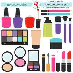 Makeup Clipart Set  clip art set of by mycutelobsterdesigns