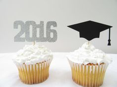 Graudation cupcake toppers | black and silver graduation decor https://www.etsy.com/listing/278864158/gradutation-cupcake-toppers-grad-cup
