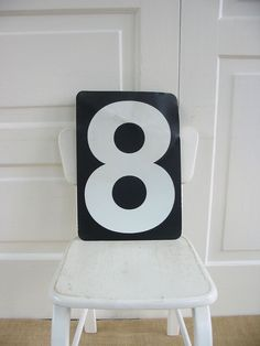 Vintage Metal Number Eight 8 Zero 0 Black White Art by vintagejane, $22.00