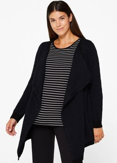 Esprit - Open Textured Knit Cardigan Cardigan Long, Knit Cardigan, Maternity Wear, Neue Trends, Hosiery, Knitting, Sleeves, Sweaters, How To Wear