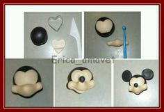 Tutorial on fondant/gumpaste figurines Fondant Icing, Fondant Toppers, Fondant Cakes, Cupcake Cakes, Rose Cupcake, Cupcake Toppers, Theme Mickey, Mickey Mouse Cake, Mickey Head
