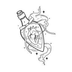 'Love Potion ' Photographic Print by Natasha Sines Art Drawings Sketches, Tattoo Sketches, Tattoo Drawings, Cute Drawings, Sarada Uchiha Wallpaper, Karten Tattoos, Bottle Drawing, Flash Art, Coloring Book Pages
