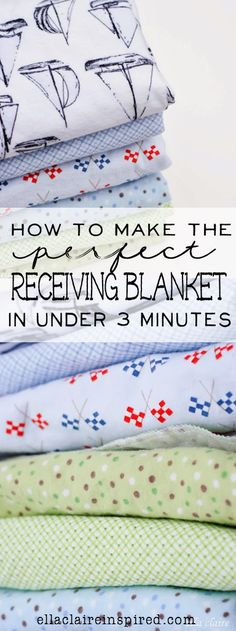 baby diy How to make the perfect receiving blanket in under three minutes! Ella Claire shares all of her tips and tricks! Serger Projects, Baby Sewing Projects, Sewing For Kids, Sewing Hacks, Sewing Crafts, Sewing Tips, Sewing Ideas, Sewing Tutorials, Quilt Tutorials