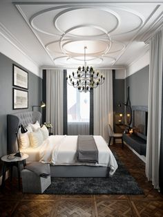 Bedroom decor always needs a luxurious suspension lamp. Discover more luxurious interior design details at luxxu.net