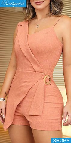 Sexy V-Neck Spaghetti Strap Sexy Rompers Solid Summer Women Irregular Party Rompers Sleeveless Sashes Casual Playsuit Diy Fashion, Trendy Fashion, Fashion Dresses, Classic Fashion, Fashion Black, Trendy Style, Fashion Clothes, Style Fashion, Fashion Women