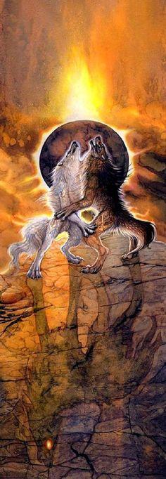 The Eclipse of the Ragnarök... Sköl and Hati will devour Sol and Mani, the sun and the moon. http://exileden.deviantart.com/art/Eclipse-of-Ragnarok-162071966