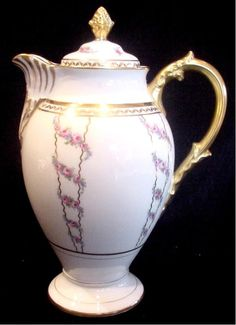 French Limoges Chocolate Pot Pink Roses Gold Trim c 1894 - 1900