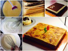 Pastel de crema quemada y pastel de chocolate con crema de naranja