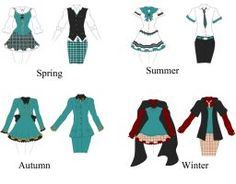 Konoha Seasonal Uniforms by Butterfly--Empress Anime Uniform, Cosplay Outfits, Anime Outfits, Academy Uniforms, Drawing Anime Clothes, Fashion Terms, Clothing Sketches, Illustration Mode, Uniform Design
