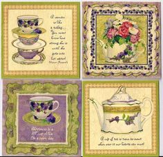 Pansies vintage inspired tea cup teapot tag blank small card tags ATC set 8