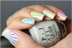 Rainbow Candy Cane Nails with BM-301