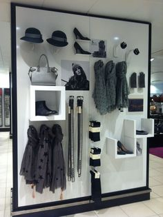 Great accessory wall, good way to display items that can complete an outfit.