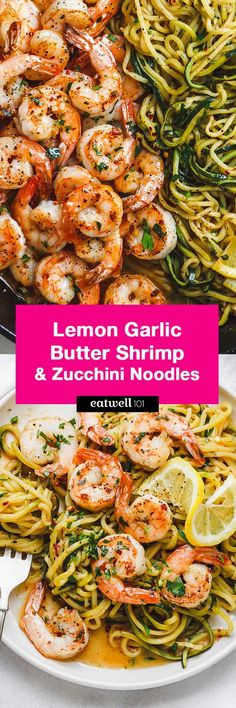 Lemon Garlic Butter Shrimp with Zucchini Noodles - This fantastic meal cooks in one skillet in just 10 minutes. and - Lemon Garlic Butter Shrimp with Zucchini Noodles - This fantastic meal cooks in one skillet in just 10 minutes. Seafood Dishes, Seafood Recipes, Paleo Recipes, Low Carb Recipes, Cooking Recipes, Low Carb Food, Low Carb Summer Recipes, Low Carb Beer, Tapas Recipes