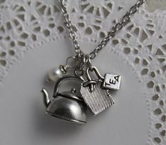 Tea Time Necklace with Tea Kettle,Tea Bag, Freshwater Pearl Charms