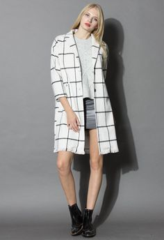Beyond Plaid Longline Wool-blend Coat in White - Tops - Retro, Indie and Unique Fashion