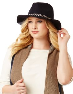 Braided Panama Hat | Catherines Top off your ensemble with this fashionable hat. The relaxed style easily pairs with your favorite casual looks and features a braided detail for added interest. Felt with faux leather braid.