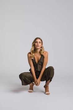 The Zoe jumpsuit by Leave Her Wilder. Bridesmaid gowns available online and ship internationally Bridesmaid Gowns, Jumpsuit, Leaves, Ship, Free, Collection, Dresses, Fashion, Overalls