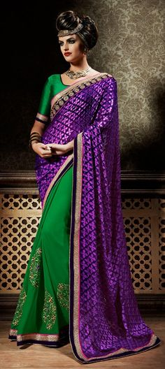 168029 Green,Purple and Violet  color family Embroidered Sarees,Party Wear Sarees in Faux Chiffon fabric with Lace,Machine Embroidery,Thread work   with matching unstitched blouse.