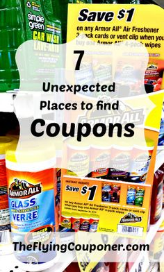 Unexpected Places to Find Coupons. With more and more of us looking to save money, coupons are now everywhere! Couponing and Extre couponing tips. Saving money tips and ideas. The Flying Couponer | Family. Lifestyle. Savings.