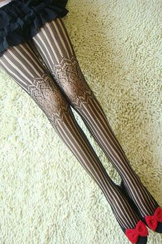 ROMWE | Striped Black Tights - Wish that i could pull this look off...