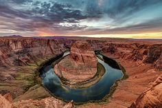 Wide view of Horseshoe bend  near the town of Page, Arizona at sunset. Taken with the canon 5dsr and 14 mm f2.8 rokinon horseshoe bend, colorado river, river, bend in the river, arizona, usa, america, southwest usa, wide, photo, photography, sunset, adventure, hiking, desert, reflection, landscape, nature, erosion, sky, land, popular, travel, places, place to visit, pierre leclerc photography, canon 5dsr, rokinon 14 mm, prints, photograph, canvas prints, metal prints, framed prints
