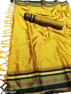 Sarees Hirkal Traditional Paithani Silk Sarees With Contrast Blouse Piece (Mustard & Black)  Saree Fabric: Silk Blend Blouse: Separate Blouse Piece Blouse Fabric: Silk Blend Pattern: Woven Design Blouse Pattern: Woven Design Multipack: Single Sizes:  Free Size (Saree Length Size: 5.3 m, Blouse Length Size: 0.8 m)  Country of Origin: India Sizes Available: Free Size   Catalog Rating: ★4 (469)  Catalog Name: Aakarsha Fashionable Sarees CatalogID_2303917 C74-SC1004 Code: 146-16972897-7761