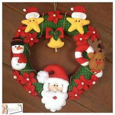 Guirlanda de natal em feltro; Felt Christmas Door Santa Claus
