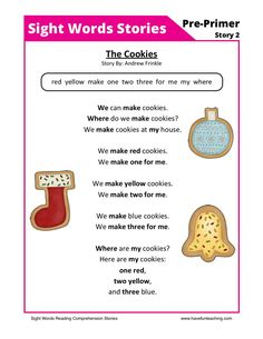 Using this The Cookies Pre-Primer Sight Words Reading Comprehension Worksheet, students build their reading comprehension and phonics skills while reading pre-primer sight words. Teaching Kindergarten Writing, Have Fun Teaching, Phonics Reading, Reading Comprehension Worksheets, Phonics Worksheets, Teaching Reading, Literacy, Word Reading, Reading Games