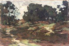 """Een vroeg schilderijtje van Edzard Koning. Gesigneerd met zijn """"jeugd"""" monogram en niet het karakteristieke Edz.K. Edzard Koning werkte al in de omgeving van Nunspeet voor de reis in 1891 naar Parijs. Het werkje 22 x 32 cm werd in 2014 aangeboden op een veiling van Derksen in Arnhem."""