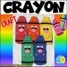 This adorable Crayon Craft is perfect for Back to School, color themes, or simply to decorate your classroom. Simply copy the templates onto colored paper or use them as tracers. It also contains all of the pieces needed to make this craft. When completed, students can draw a happy mouth with crayons, marker