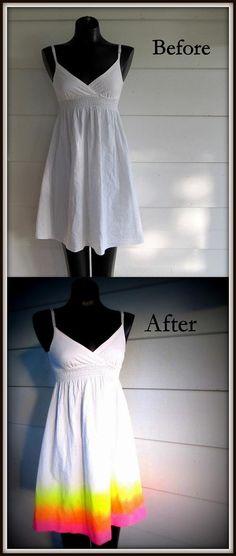 DIY Clothes DIY Refashion DIY. Neon Sunshine Dress,