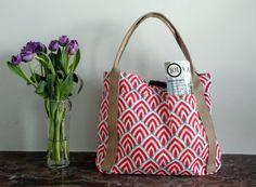 Reversible Tote bag // orange scalops // striped denim // laptop bag…