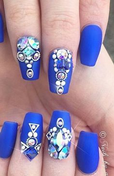 Royal blue matte rhinestone nails