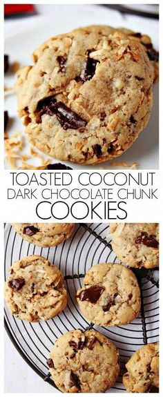Toasted Coconut and Dark Chocolate Chunk Cookies - a cookie that has it all. You will love the toasted coconut and dark chocolate combination! Recipe source: CrunchyCreamySweet.com