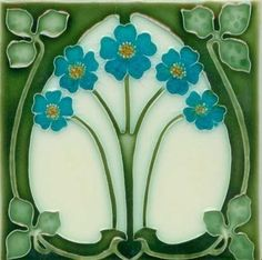 Art Tile, Art Nouveau Flowers, Turquoise, Gold, and Cream on Green for backsplash or fireplace
