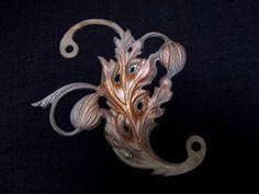 1850-1900年 23X21cm 524g ブロンズ アールヌーボー ローレーヌ地方のアザミのモチーフ、ブロンズの飾りです。