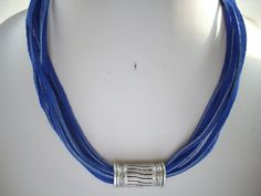 Multi Strand Dyed Cobalt Blue Suede Necklace with Large Greek Silver Slider Tube Bead by DesignsbyPattiLynn on Etsy
