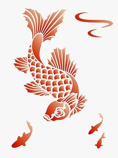Silhouette sea and nautical on pinterest silhouette for Koi fish stencil